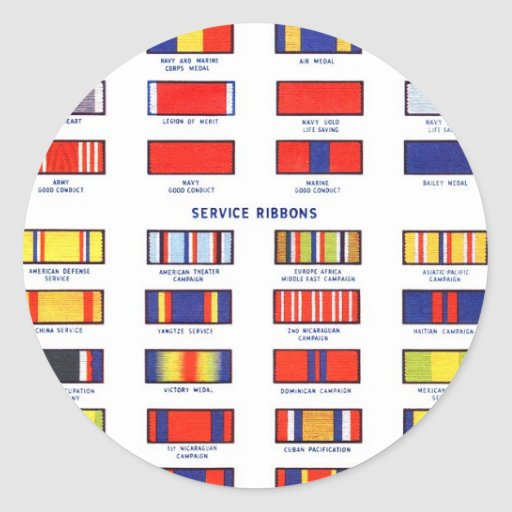 Retro Vintage Kitsch Military Service Ribbon Chart Round Stickers