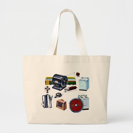 Retro Vintage Kitsch Modern Appliances Large Tote Bag