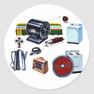 Retro Vintage Kitsch Modern Appliances Classic Round Sticker