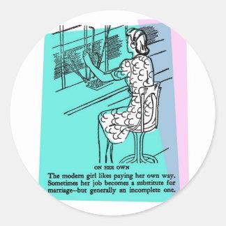 Retro Vintage Kitsch Modern Work Girl Not Complete Classic Round Sticker