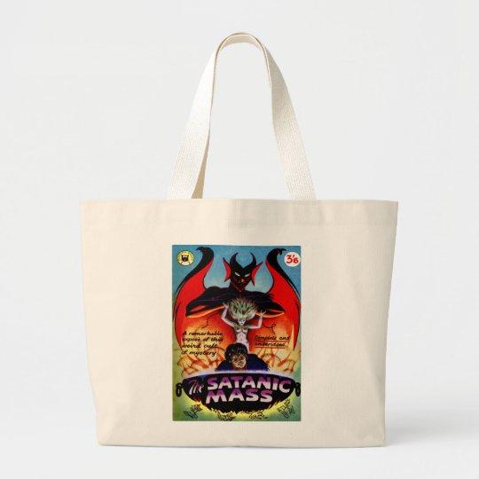 Retro Vintage Kitsch Monster Pulp Satanic Mass Large Tote Bag