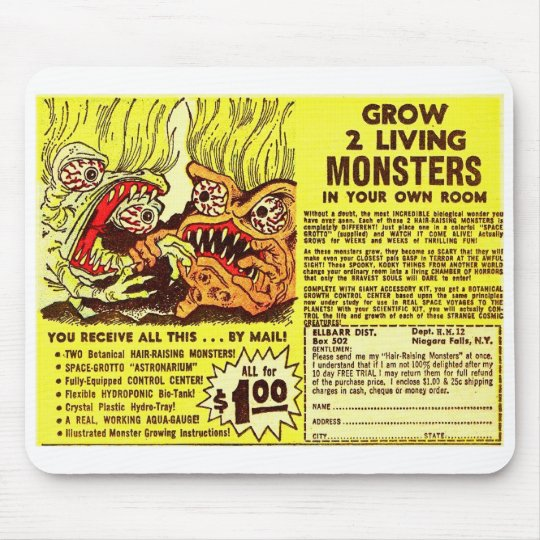 Retro Vintage Kitsch Monsters 'Grow 2 Monsters' Mouse Pad