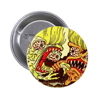 Retro Vintage Kitsch Monsters 'Grow 2 Monsters' Pinback Button