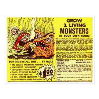 Retro Vintage Kitsch Monsters 'Grow 2 Monsters' Postcard