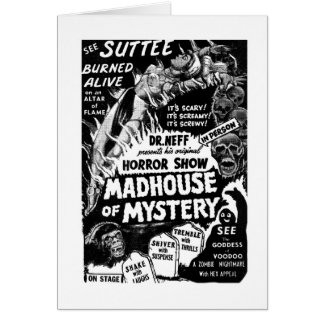 Retro Vintage Kitsch Monsters Madhouse of Mystery Card