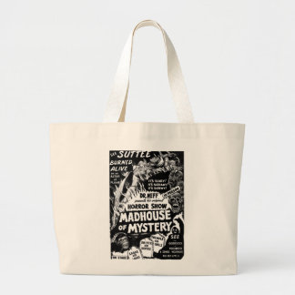 Retro Vintage Kitsch Monsters Madhouse of Mystery Large Tote Bag