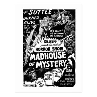 Retro Vintage Kitsch Monsters Madhouse of Mystery Postcard