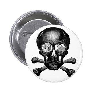 Retro Vintage Kitsch Monsters 'Skull' Comic Pinback Button