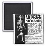 Retro Vintage Kitsch Moster Size Skeleton Ad 2 Inch Square Magnet