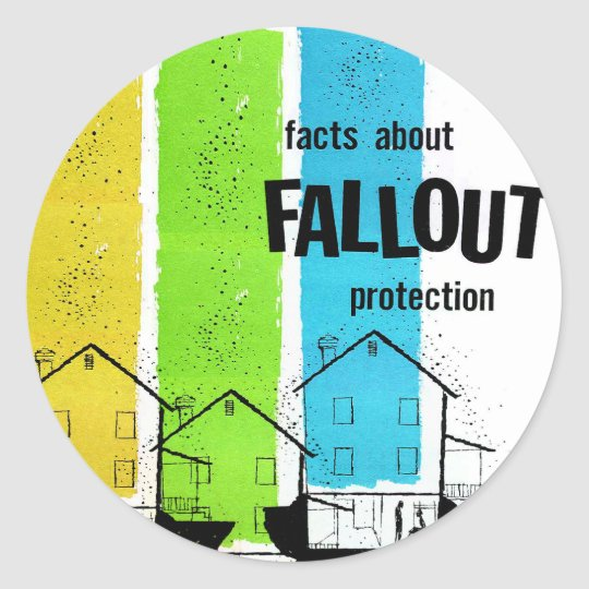 Retro Vintage Kitsch Nukes Facts About Fallout Classic Round Sticker