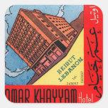 Retro Vintage Kitsch Omar Khayyam Hotel Beirut Square Sticker