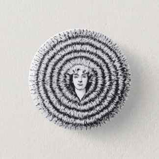 Retro Vintage Kitsch Optical Illusion Big Hair Pinback Button