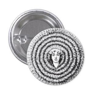 Retro Vintage Kitsch Optical Illusion Big Hair Pinback Button
