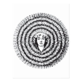 Retro Vintage Kitsch Optical Illusion Big Hair Postcard