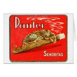 Retro Vintage Kitsch Panther Cigars Dutch Tin Box Greeting Card