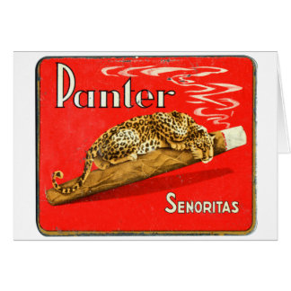 Retro Vintage Kitsch Panther Cigars Dutch Tin Box Card