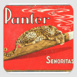 Retro Vintage Kitsch Panther Cigars Dutch Tin Box Square Sticker