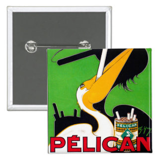 Retro Vintage Kitsch Pelican Brand Cigarettes Button
