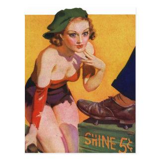 Retro Vintage Kitsch Pin Up 30s Shoe Shine 5¢ Postcard