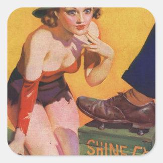 Retro Vintage Kitsch Pin Up 30s Shoe Shine 5¢ Square Sticker