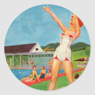 Retro Vintage Kitsch Pin Up Bathing Suit Resort Classic Round Sticker