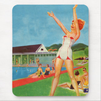 Retro Vintage Kitsch Pin Up Bathing Suit Resort Mouse Pad