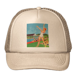 Retro Vintage Kitsch Pin Up Bathing Suit Resort Trucker Hat