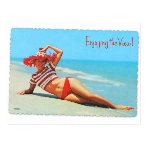 Retro Vintage Kitsch Pin Up Bikini Beach Postcard