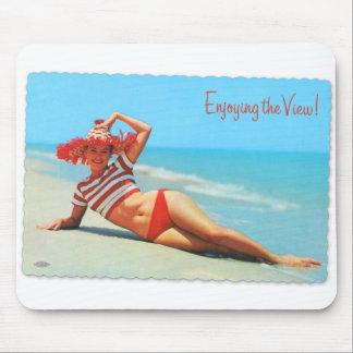 Retro Vintage Kitsch Pin Up Bikini Beach Postcard Mouse Pad