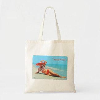 Retro Vintage Kitsch Pin Up Bikini Beach Postcard Tote Bag