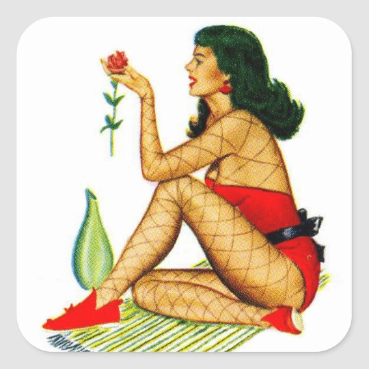 Retro Vintage Kitsch Pin Up Calender Girl Square Sticker
