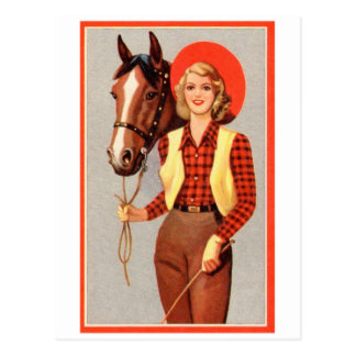 Retro Vintage Kitsch Pin Up Card Cowgirl & Horse