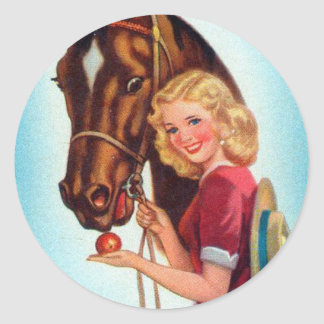 Retro Vintage Kitsch Pin Up Card Cowgirl & Horse Classic Round Sticker