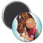 Retro Vintage Kitsch Pin Up Card Cowgirl & Horse Magnet