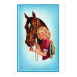 Retro Vintage Kitsch Pin Up Card Cowgirl & Horse Postcards