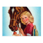 Retro Vintage Kitsch Pin Up Card Cowgirl & Horse Post Card