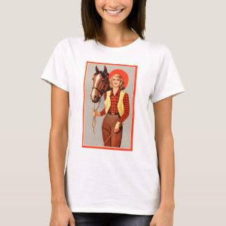 Retro Vintage Kitsch Pin Up Card Cowgirl & Horse T-Shirt