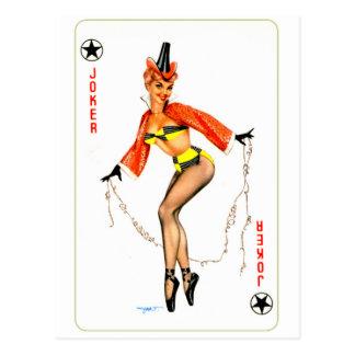 Retro Vintage Kitsch Pin Up Card Joker Girl Postcard