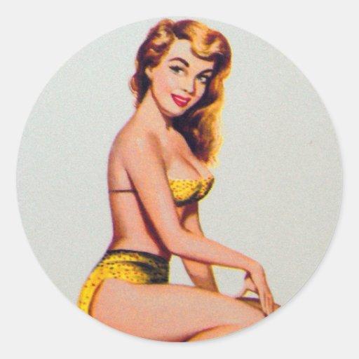 Retro Vintage Kitsch Pin Up Card Joker's Wild Girl Stickers