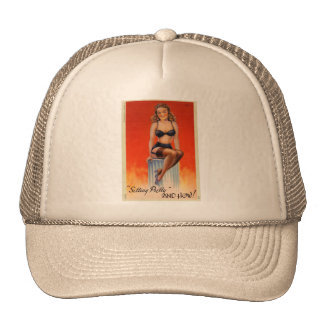 Retro Vintage Kitsch Pin Up Card Sitting Pretty Trucker Hat