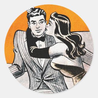 Retro Vintage Kitsch Pin Up Dating Smooch Girl Classic Round Sticker