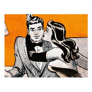 Retro Vintage Kitsch Pin Up Dating Smooch Girl Post Card