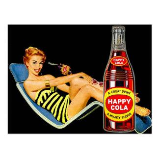 Retro Vintage Kitsch Pin Up Girl Happy Soda Postcard