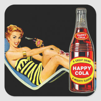 Retro Vintage Kitsch Pin Up Girl Happy Soda Square Sticker