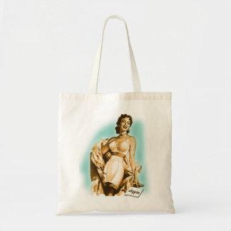Retro Vintage Kitsch Pin Up Girl Underwear Bra Ad Tote Bag