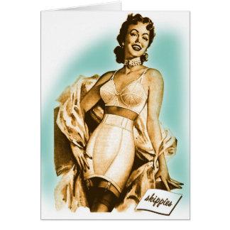 Retro Vintage Kitsch Pin Up Girl Underwear Bra Ad Greeting Card