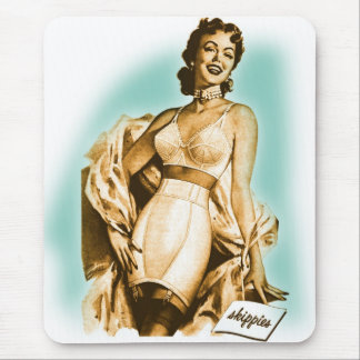Retro Vintage Kitsch Pin Up Girl Underwear Bra Ad Mouse Pad