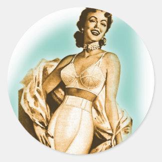 Retro Vintage Kitsch Pin Up Girl Underwear Bra Ad Classic Round Sticker