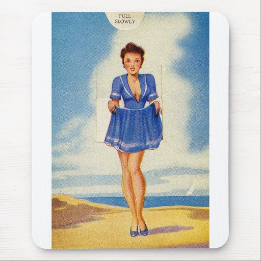 Retro Vintage Kitsch Pin Up Girly Pull Slowly Card Mouse Pad