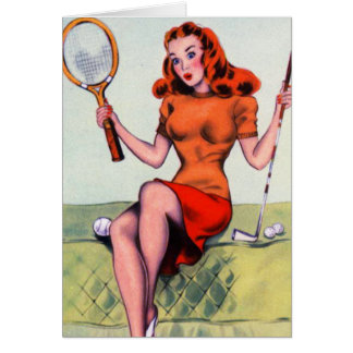 Retro Vintage Kitsch Pin Up Illustration Art Card
